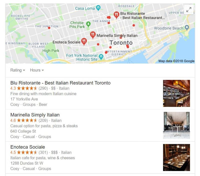 Screenshot of a Google results page for local search showing a local 3-pack