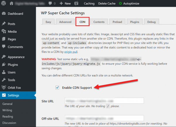 Screenshot displaying how to enable CDN in WordPress using WP Super Cache plugin