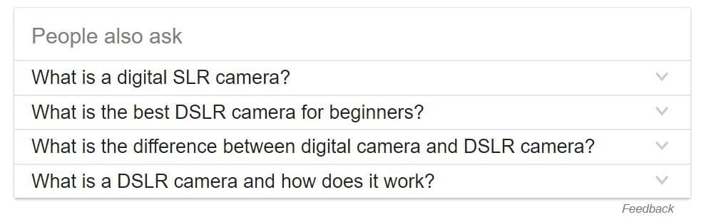 Example of related questions appearing in Google search