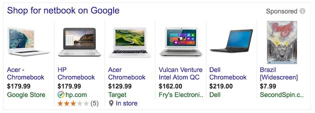 Example of paid shopping results displayed in Google search