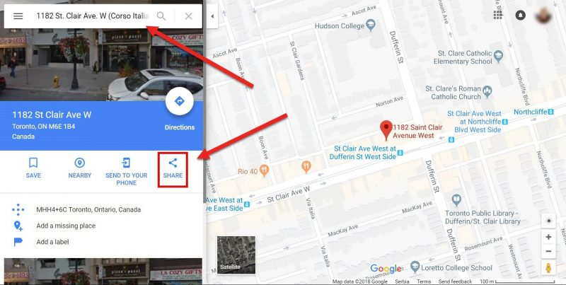 Screenshot on how to share Google Maps location