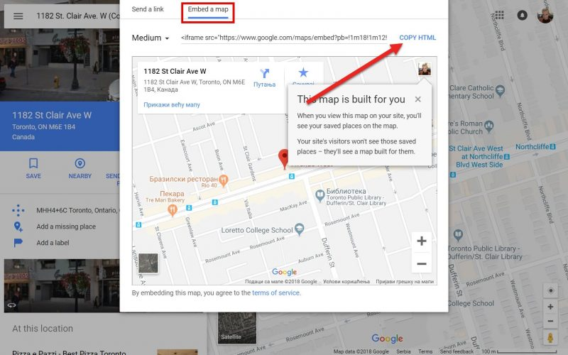 Screenshot on how to copy the embed code for Google Maps location in order to add it to your site