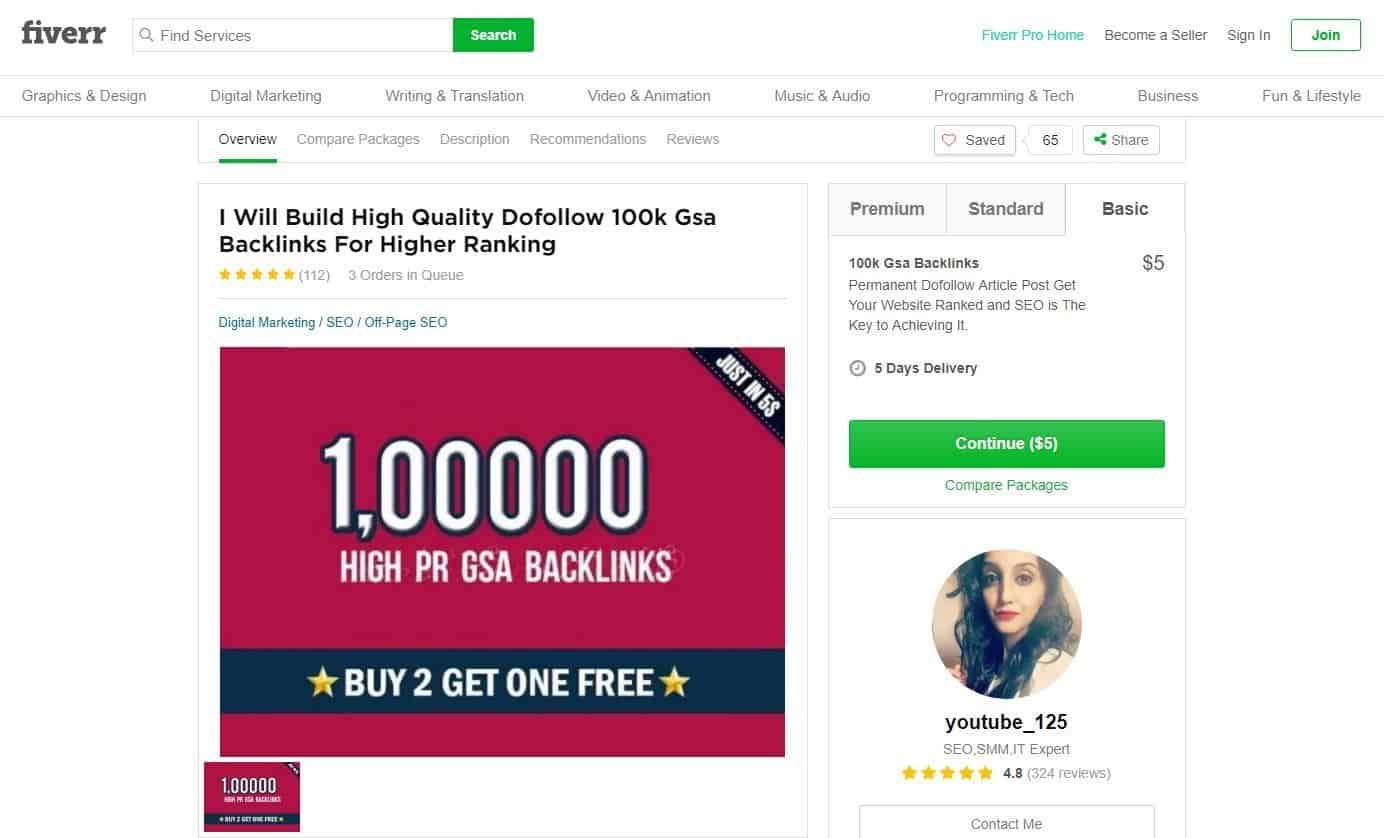 Example of someone offering backlinks for purchase on Fiverr
