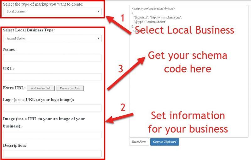 Screenshot of schema markup generator tool with three step setup highlighted. First step select the type of local business, second step set information for your business and third step get your schema code.