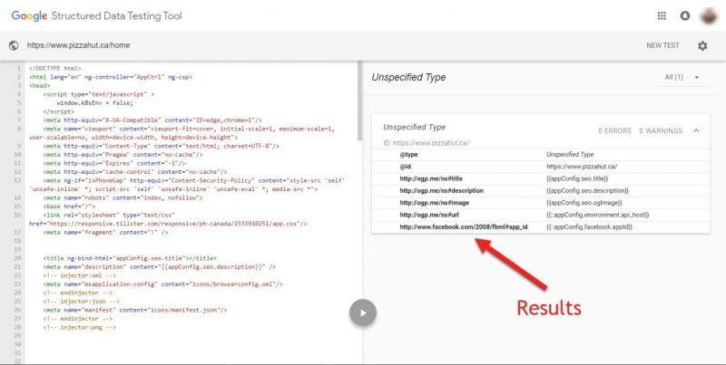 Screenshot of Google's structured data testing tool