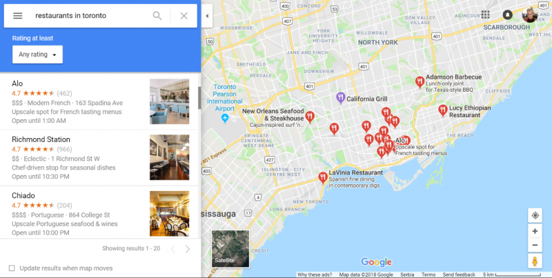 Screenshot of a local search in google maps showing the top 3 businesses in the selected area