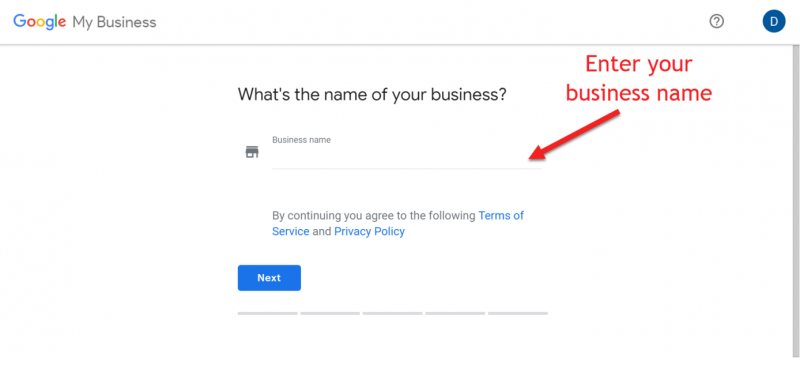 Screenshot of Google My Business setup where you need to enter your business name