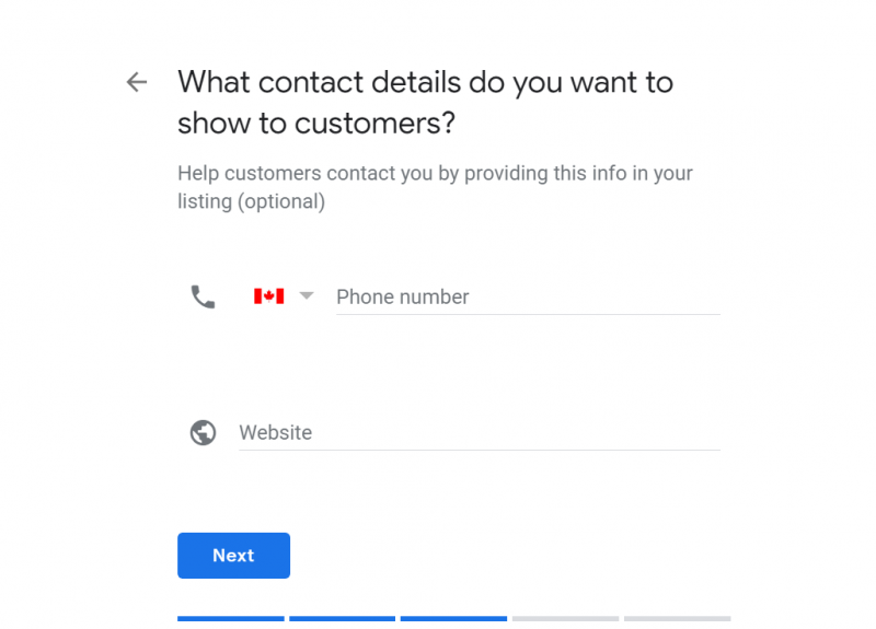 Screenshot of Google My Business setup where you need to add your contact details