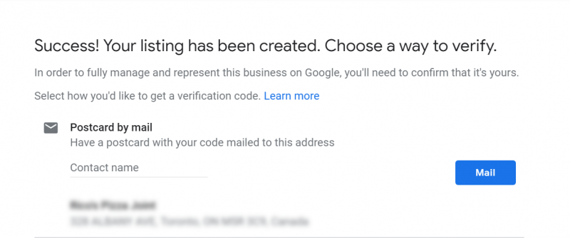 Screenshot of Google My Business setup where you need to verify the ownership of your business by receiving a code by mail