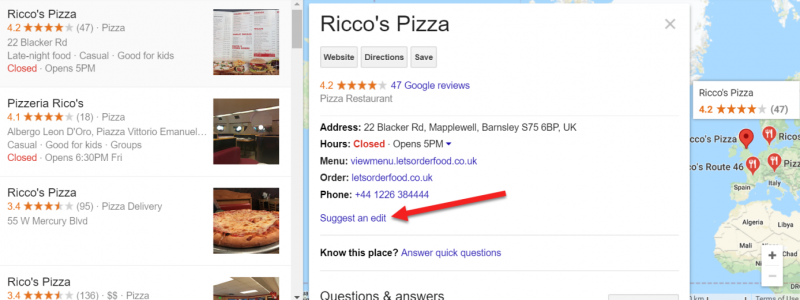 Screenshot of Google Maps area where users can suggest an edit to your local business page