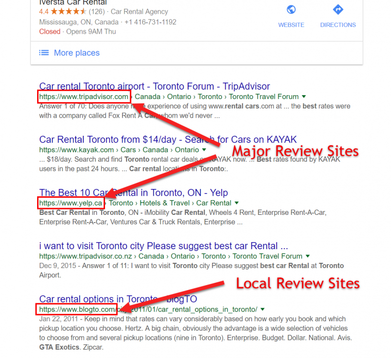 Screenshot of a Google search with review sites displayed below the local 3-pack