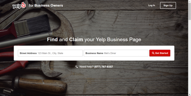 Screenshot of a page where you can claim your local business on Yelp