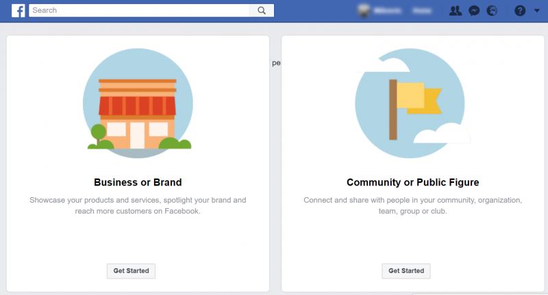 Screenshot of Facebook page creation process where you can select the type of page you want to create