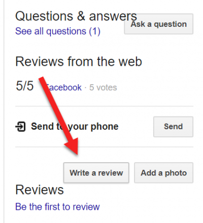 Screenshot of Knowledge Graph in Google encouraging users to write a review of the local business