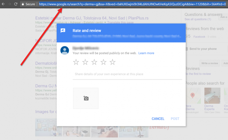 Screenshot on how to copy a URL for a local review page