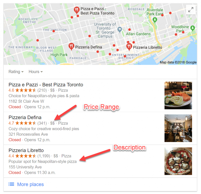 Screenshot of a local teaser pack for restaurants showing information such as the price range hinted with dollar signs and a catchy venue description
