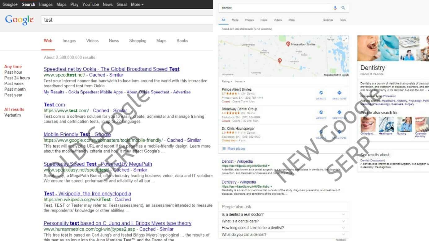 Screenshot comparison between the old and new Google search results page
