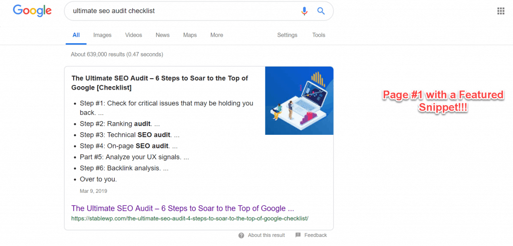 list featured snippet in serp