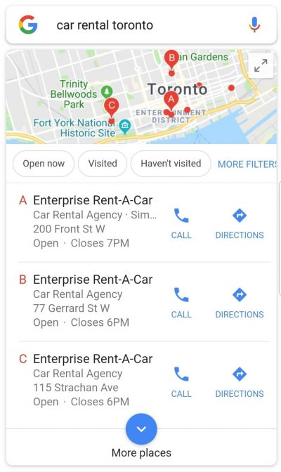 Screenshot of a local 3-pack on mobile devices, hinting convenience. You have the option to click the phone to make a call or get the directions