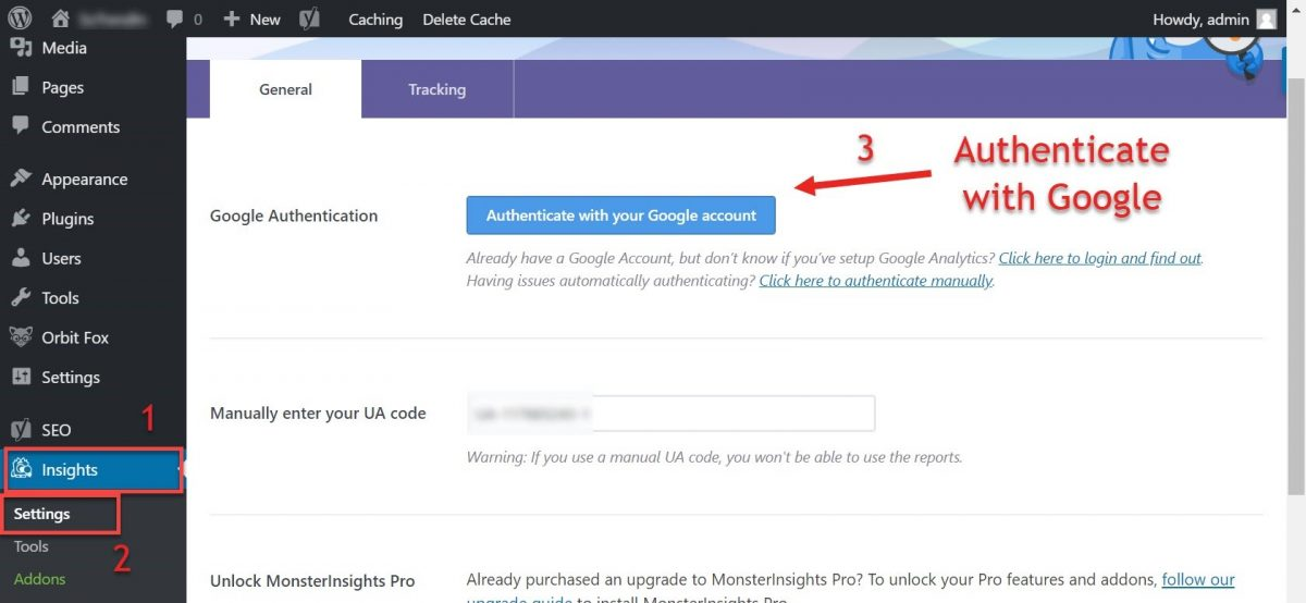 Screenshot of how to authenticate GA with Monster Insights plugin