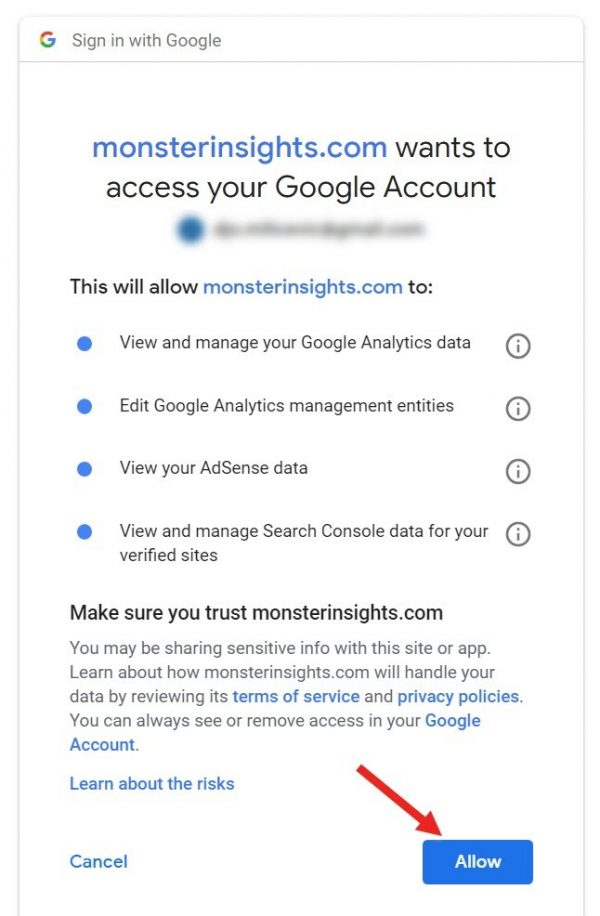 Screenshot of how to allow Monster Insights plugin to access your Google account