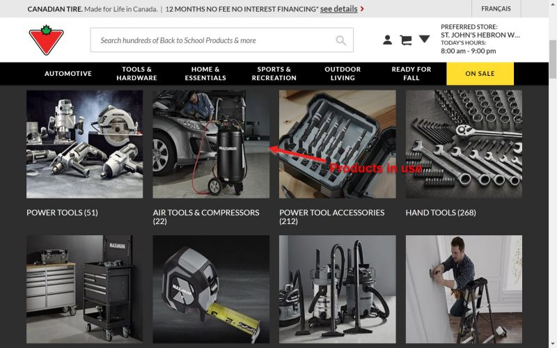 Screenshot of captivating imagery on a category page of an e-commerce store