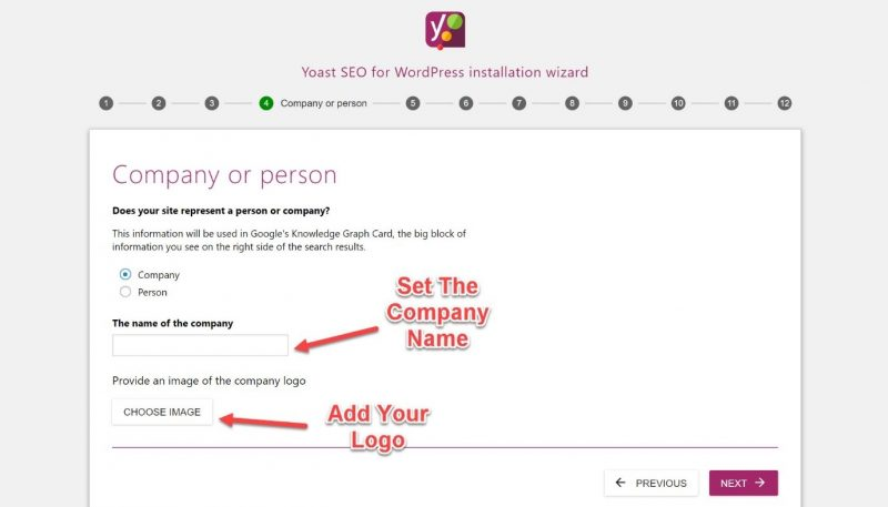 Screenshot of #4 step of Yoast configuration where you can add your company name and your logo