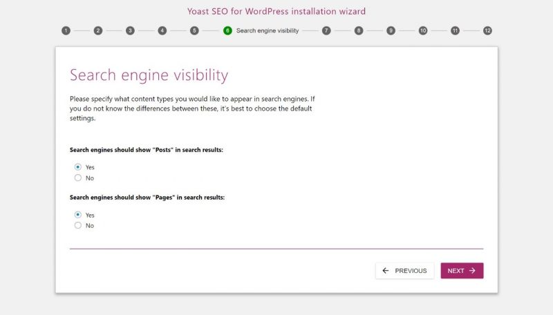 Screenshot of #6 step of Yoast configuration where you can set your search engine visibility