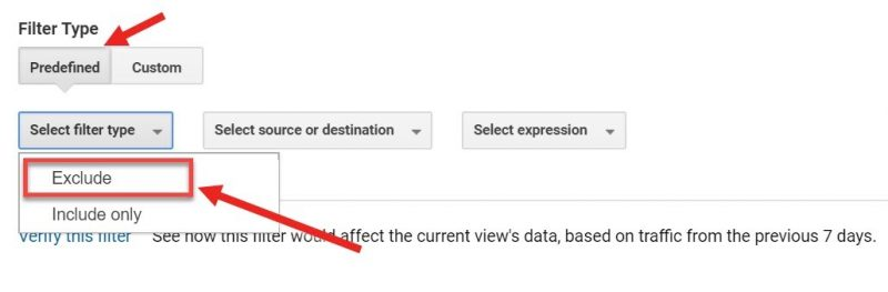 Screenshot of how to add a predefined filter that excludes internal traffic