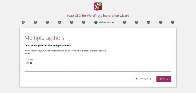 Screenshot of #7 step of Yoast configuration where you can set the number of authors on your site