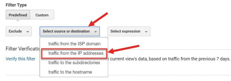 Screenshot of how to filter out traffic from an IP address