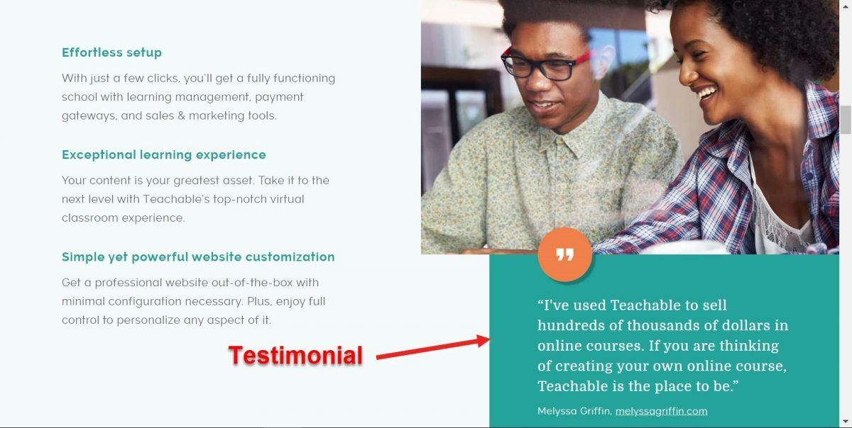 Testimonials on a home page