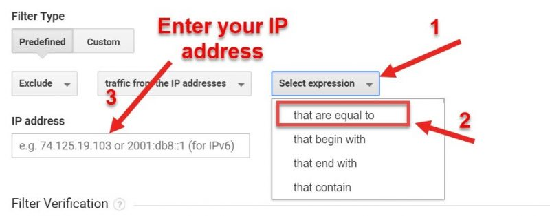 Screenshot of how to filter out traffic from an IP address in GA
