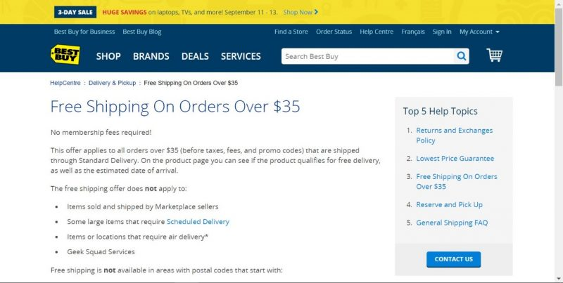 Screenshot of conditional free shipping