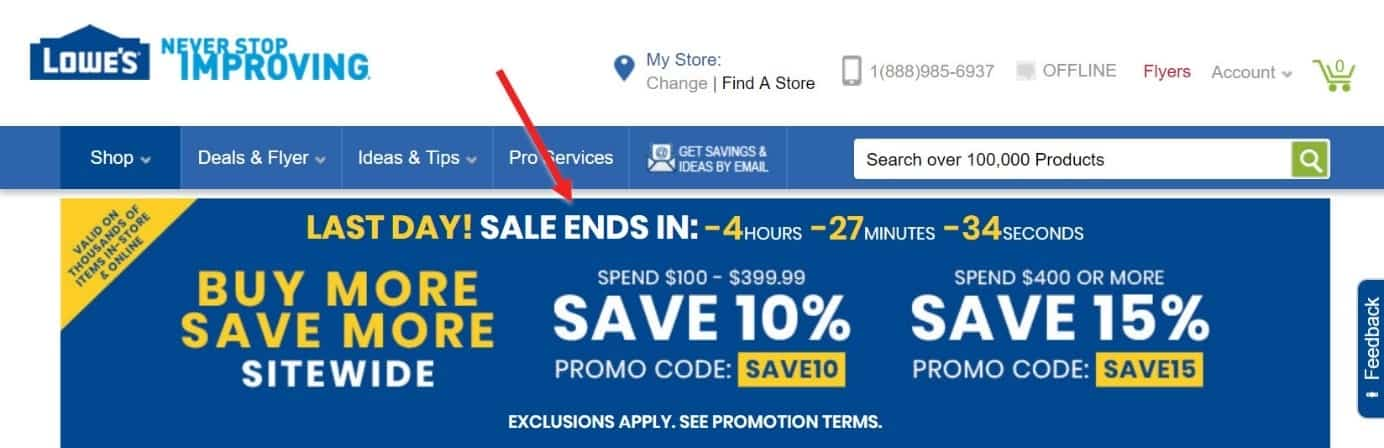 Screenshot of a countdown timer on an e-commerce site pushing for urgency