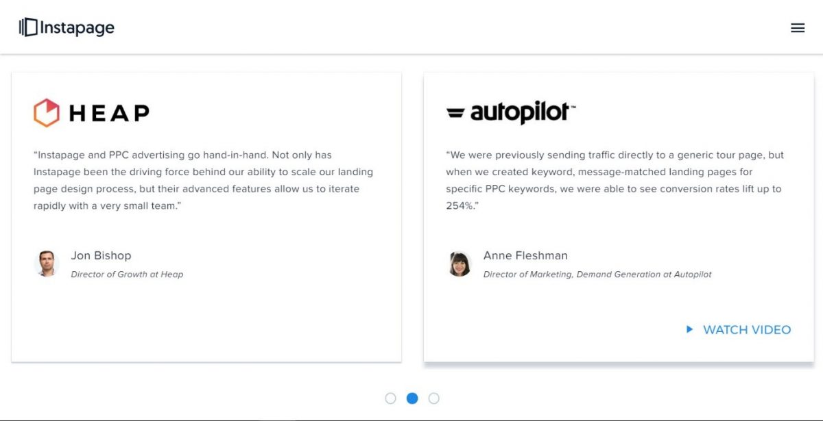 Testimonials on a squeeze page