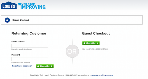 Screenshot of guest checkout in e-commerce