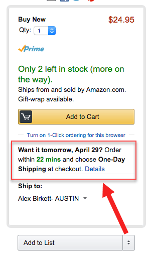 Next-day shipping countdown timer