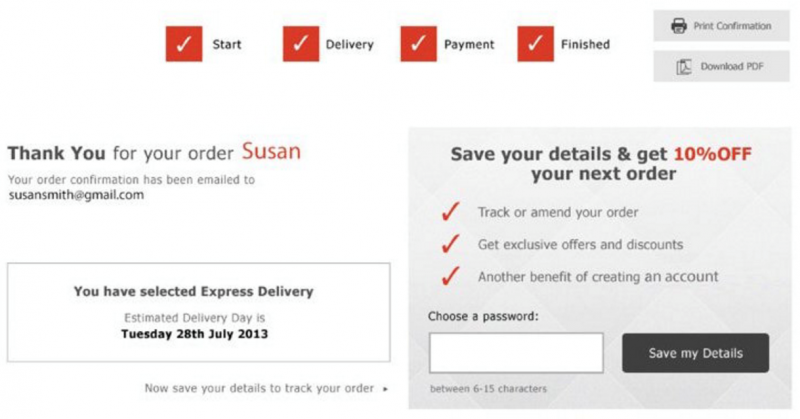 Screenshot of a bribe to get users to register for an account in e-commerce