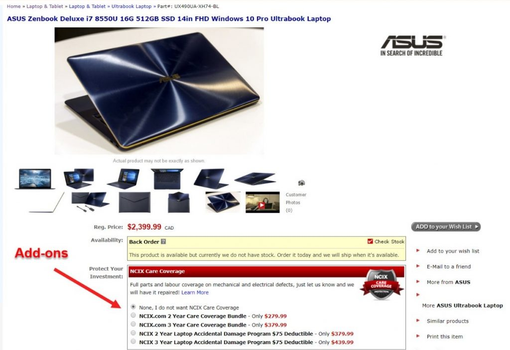 Screenshot of add-ons as an upselling tactic