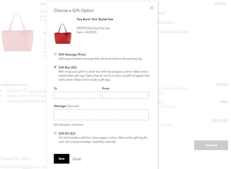 Screenshot of a gift wrapping form of upselling on e-commerce sites