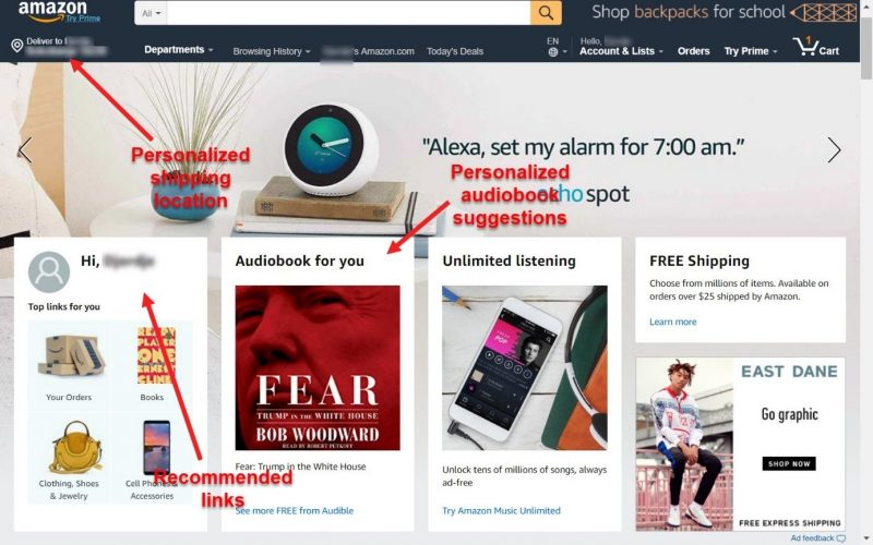 Screenshot of a personalized shopping UX on Amazon
