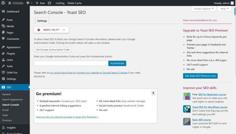 Screenshot of Search Console configuration in Yoast
