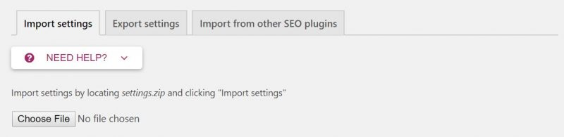 Screenshot of Yoast plugin option where you can import or export settings