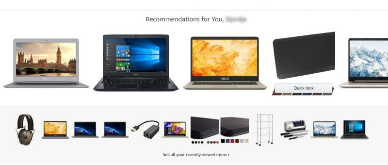 Screenshot of recommended products in online retail