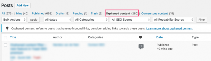 Screenshot of orphaned content detected in WordPress using Yoast