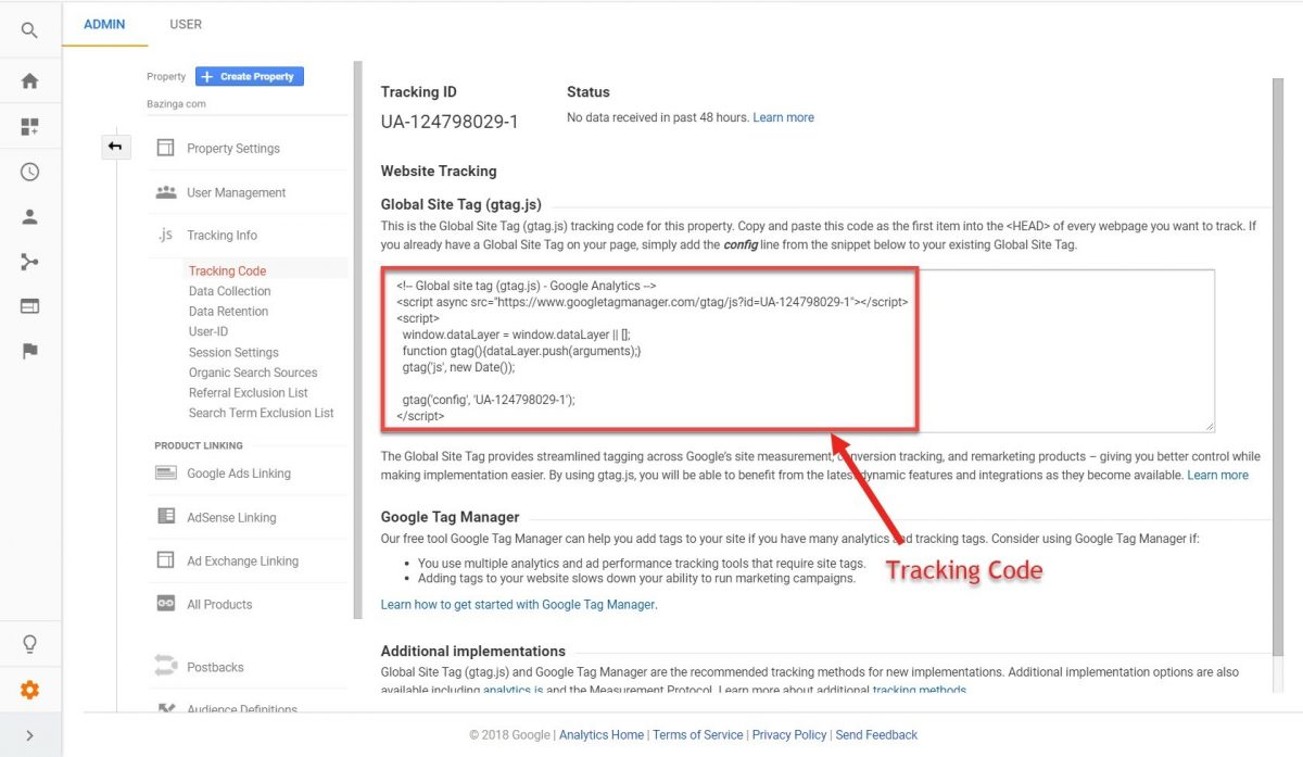 Screenshot of Google Analytics tracking code