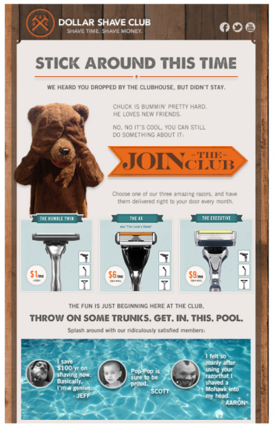 Reminder emails by Dollar Shave Club