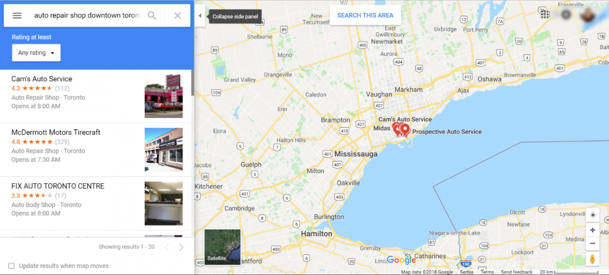 Using Google Maps to find competitors in your local area