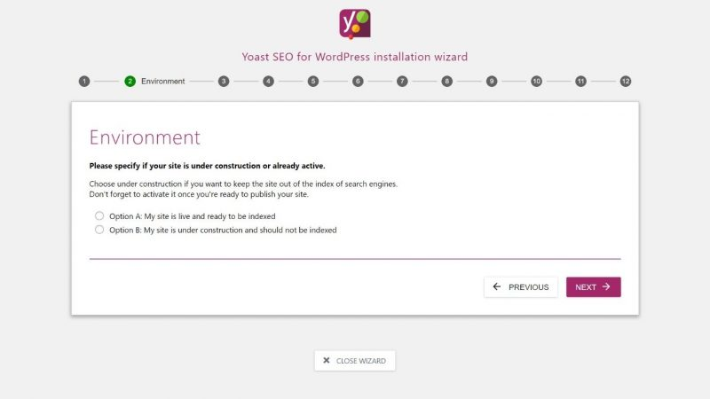 Screenshot of #2 step in Yoast configuration - pick your environment